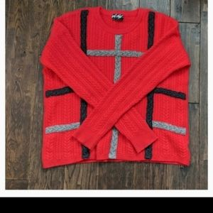 Lord & Taylor Red Cashmere Knit Cable Soft Cozy Sweater